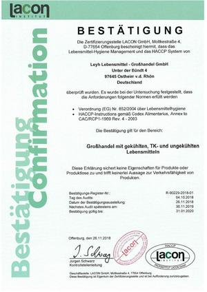 HACCP Bescheinigung 2018