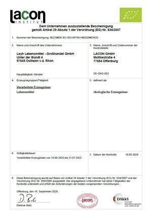 Bio Zertifikat 2020